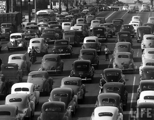 1947: Traffic in Los Angeles/ Olive and 6th/ Credit: Life Magazine