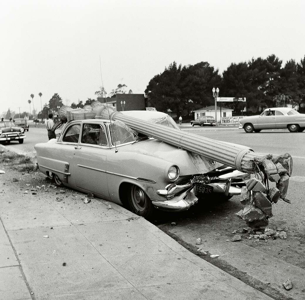 1950s Traffic Accident On San Vicente, Los Angeles, CA