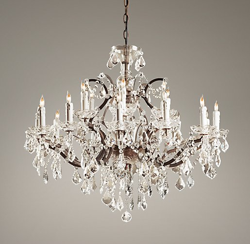 $1600 19th C. Rococco Iron and Crystal Large Chandelier