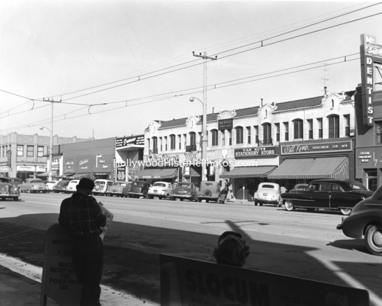 Van Nuys Blvd. at Friar (circa 1950). Notice diagonal parking and streetcar wiring.