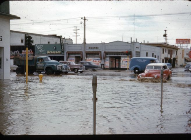 Flooding in Van Nuys, early 1950s.