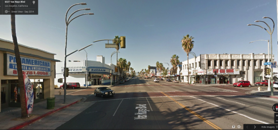 Van Nuys at Friar, facing north, September 2014.