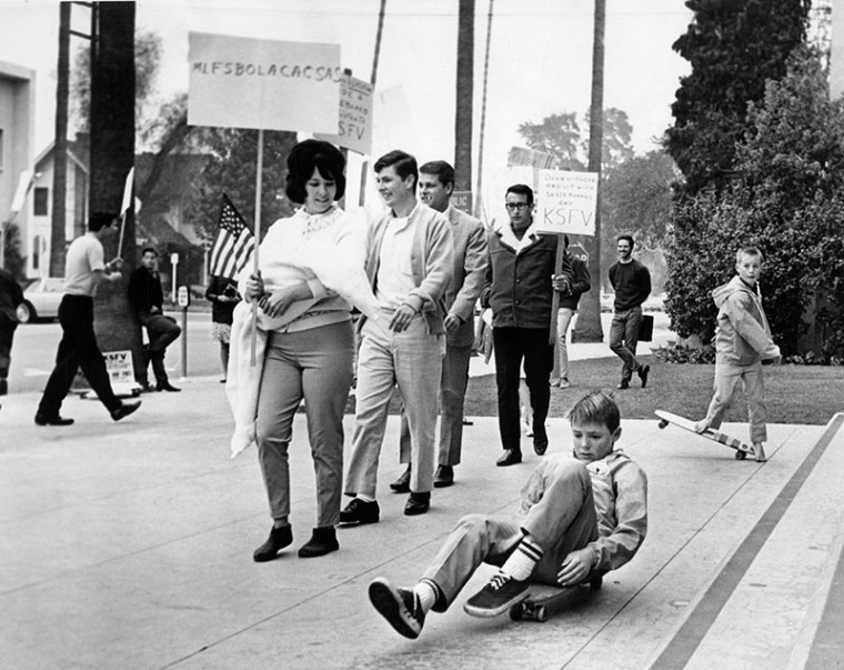 2/23/65: Kids protest new anti-skateboard ordinance at Van Nuys City Hall.