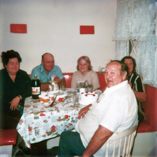"""My Mother, Father, younger Brother, Maternal Grandfather and Grandmother at a simple party to celebrate my Grandparents Anniversary taken in late 1979."""