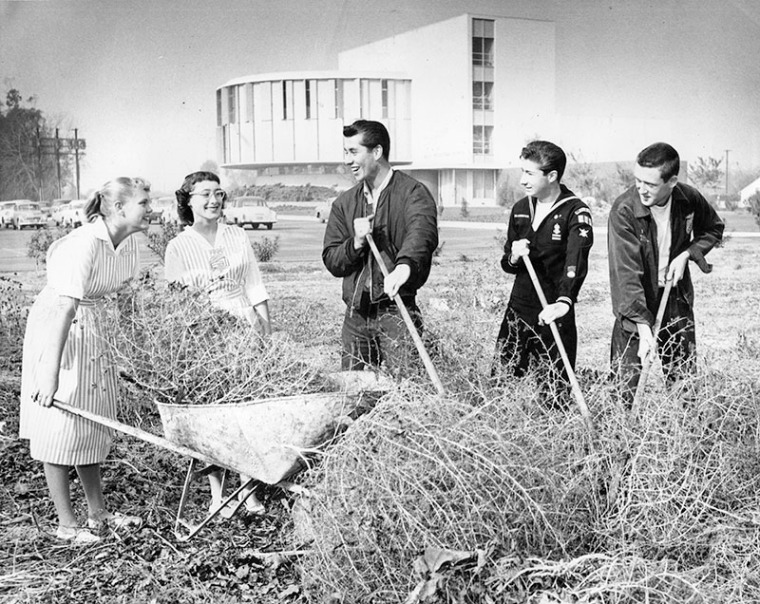 """January 5, 1959 reads """"Janet Kellenberger, 15, and Jackie Suess, 17, members of Candy Stripers, from left, aid Sea Scouts Bob Wheeler, 17; Steve Bidwell, 16, and Mike Strange, 15, in volunteer cleanup program of Valley Presbyterian Hospital. Sea Scouts, auxiliary of Explorer Scouts of America, and other organizations volunteer work hours for Van Nuys medical center."""""""